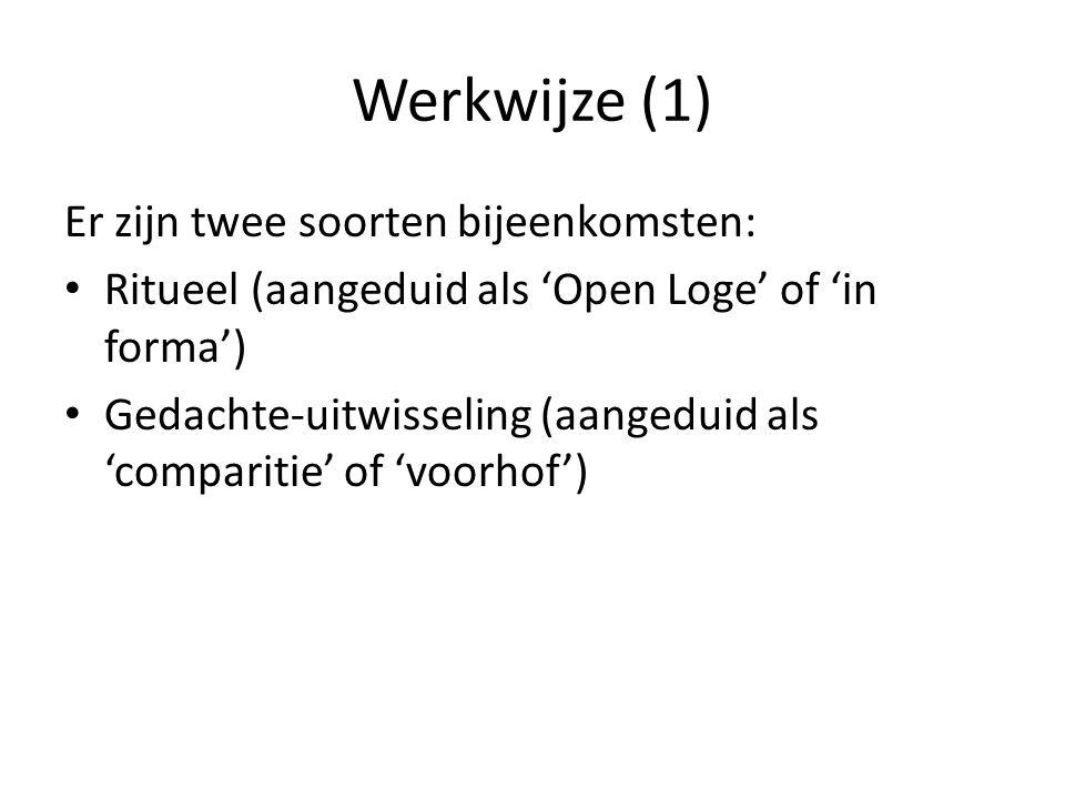 Werkwijze (1) Er zijn twee soorten bijeenkomsten: