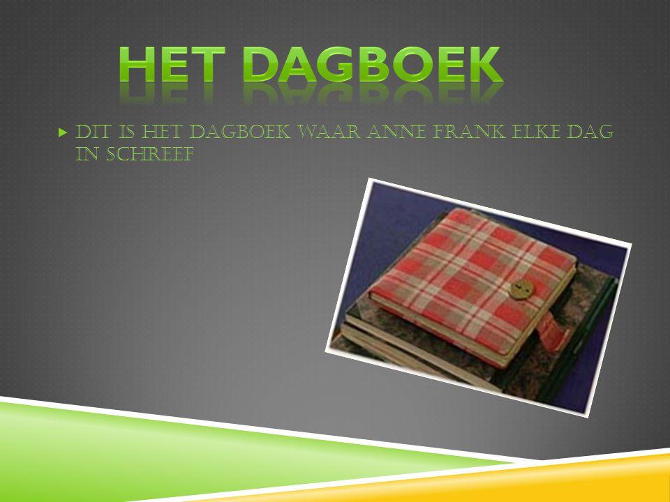Het dagboek Dit is het dagboek waar Anne Frank elke dag in schreef