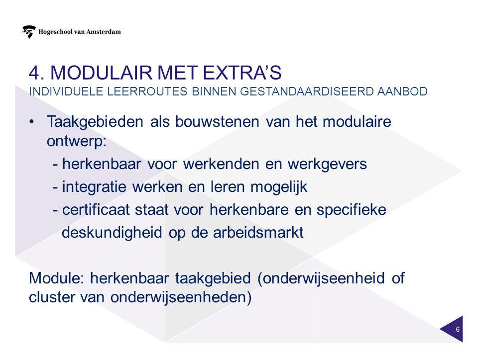4. Modulair met extra's Individuele leerroutes binnen gestandaardiseerd aanbod