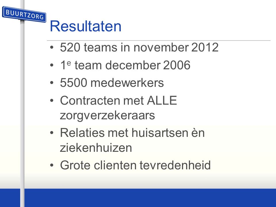 Resultaten 520 teams in november 2012 1e team december 2006