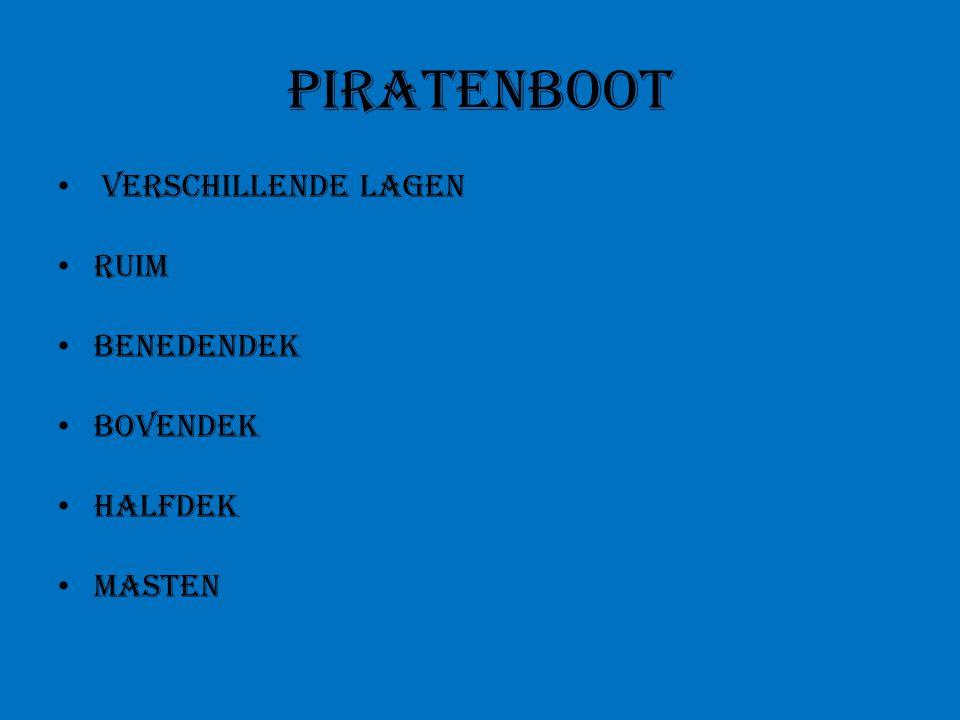 Piratenboot verschillende lagen Ruim Benedendek Bovendek Halfdek