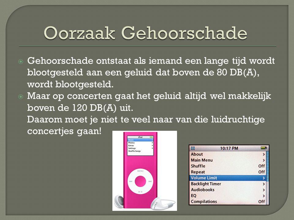 Oorzaak Gehoorschade Gehoorschade ontstaat als iemand een lange tijd wordt blootgesteld aan een geluid dat boven de 80 DB(A), wordt blootgesteld.