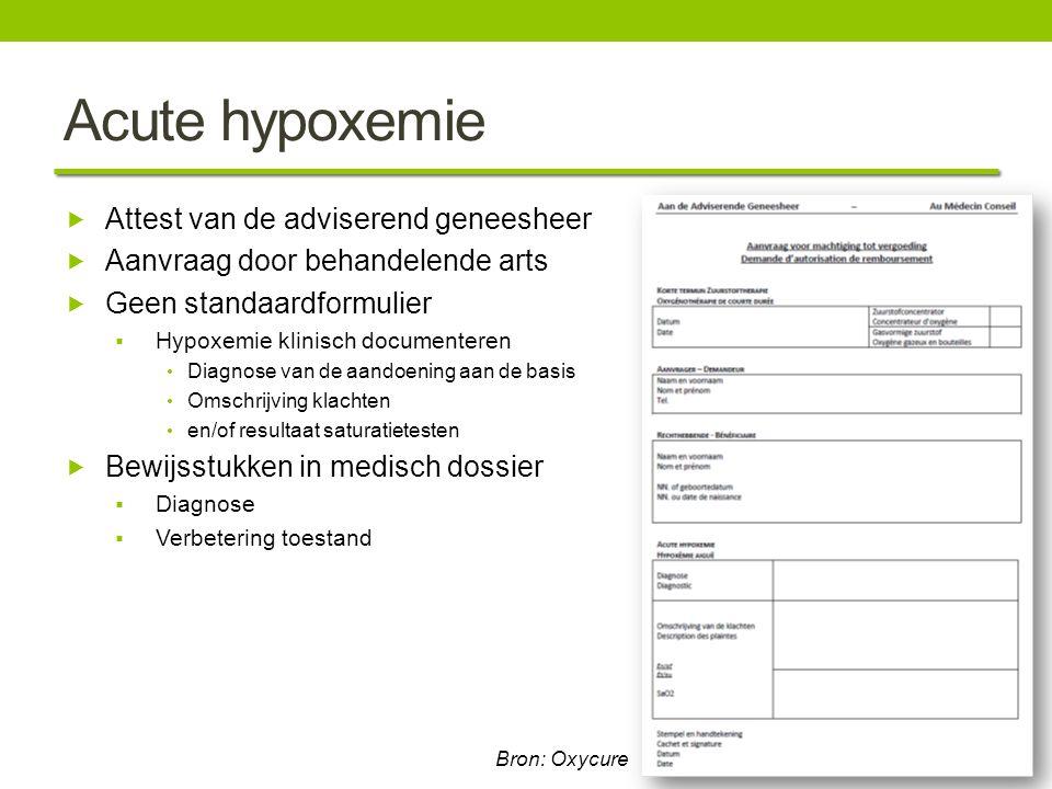 Acute hypoxemie Attest van de adviserend geneesheer