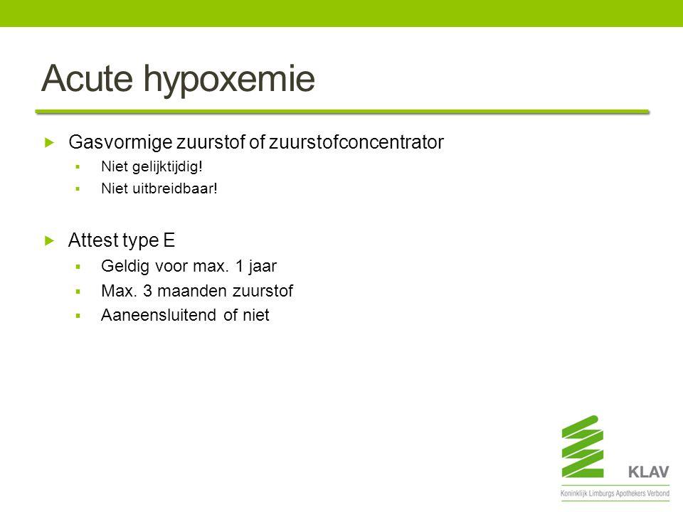 Acute hypoxemie Gasvormige zuurstof of zuurstofconcentrator