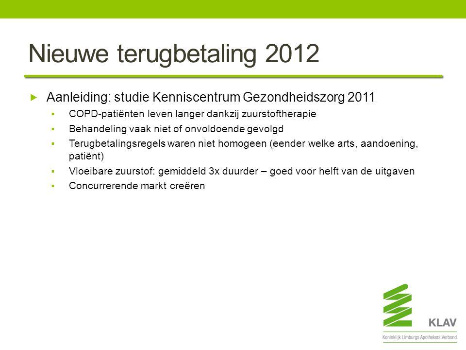 Nieuwe terugbetaling 2012 Aanleiding: studie Kenniscentrum Gezondheidszorg 2011. COPD-patiënten leven langer dankzij zuurstoftherapie.