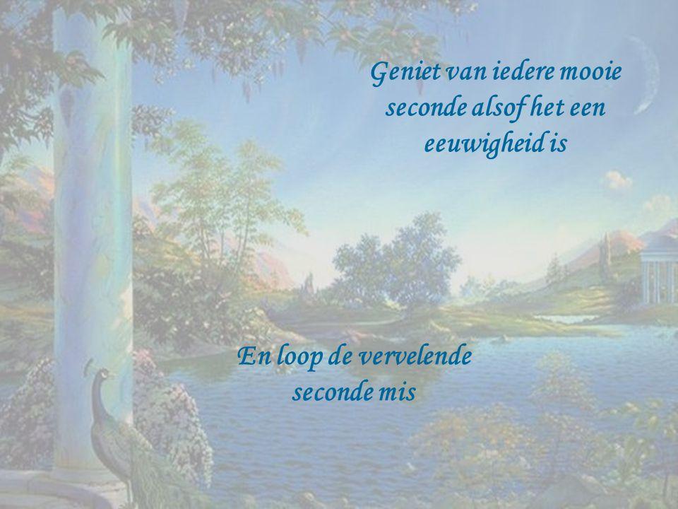 Geniet van iedere mooie seconde alsof het een eeuwigheid is