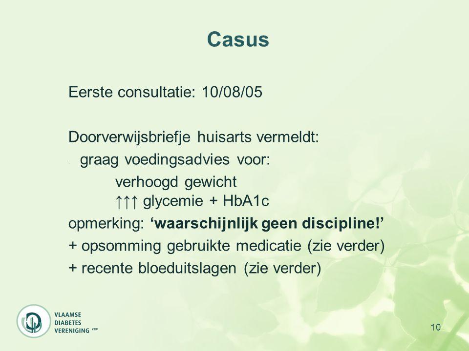 Casus Eerste consultatie: 10/08/05