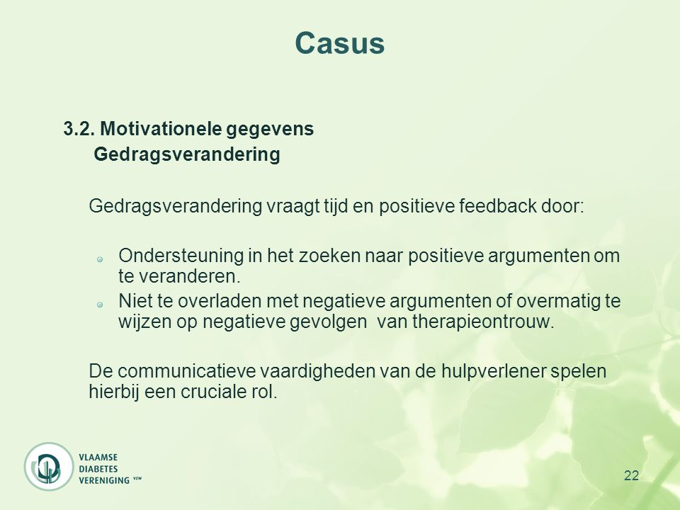 Casus 3.2. Motivationele gegevens Gedragsverandering