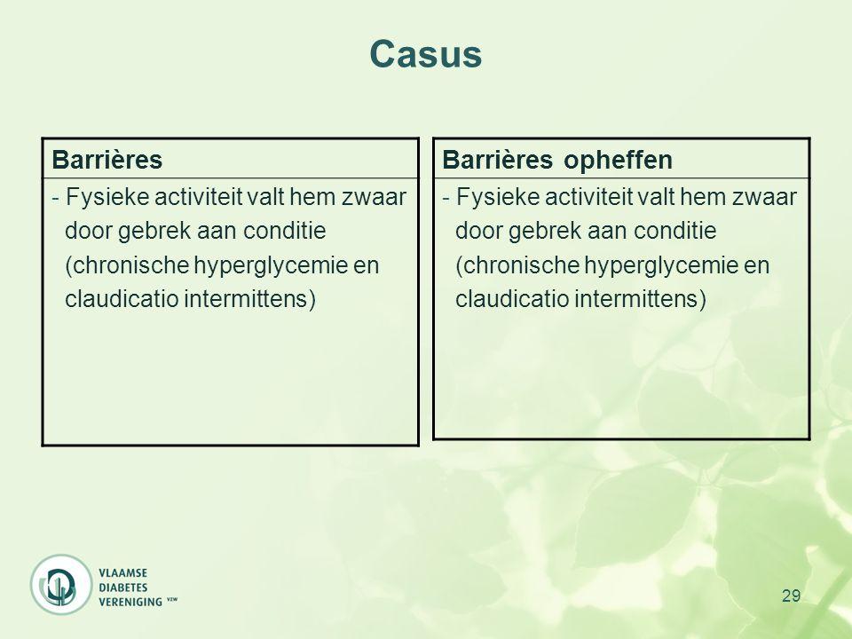 Casus Barrières Barrières opheffen Fysieke activiteit valt hem zwaar