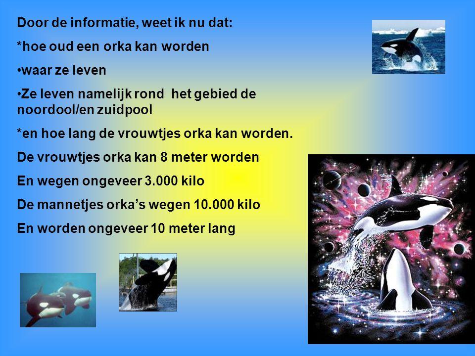 Door de informatie, weet ik nu dat: *hoe oud een orka kan worden