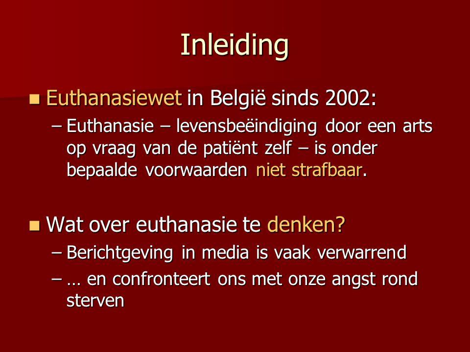Inleiding Euthanasiewet in België sinds 2002: