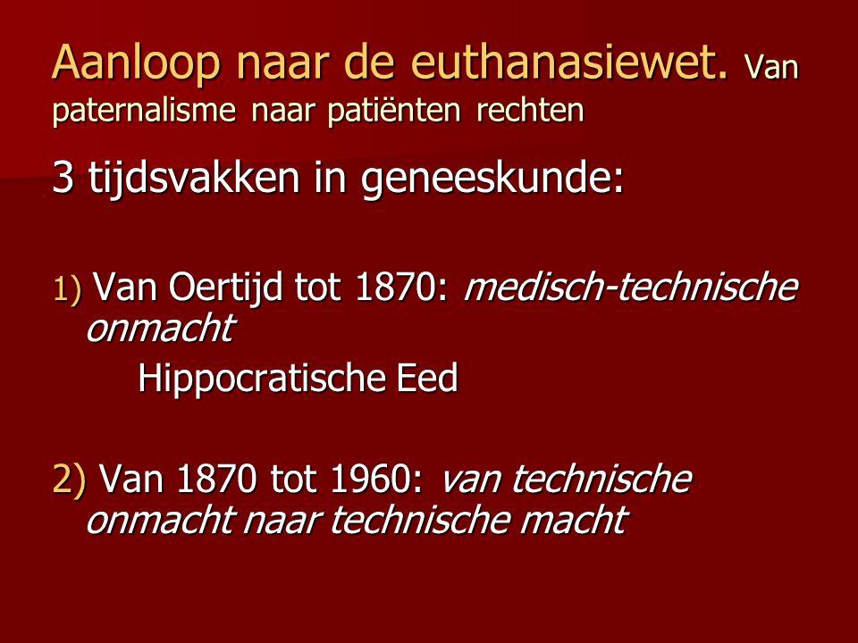 Aanloop naar de euthanasiewet. Van paternalisme naar patiënten rechten