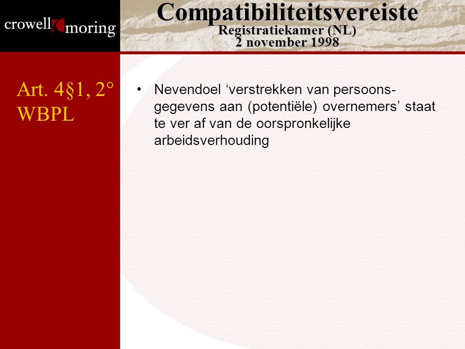 Compatibiliteitsvereiste Registratiekamer (NL) 2 november 1998