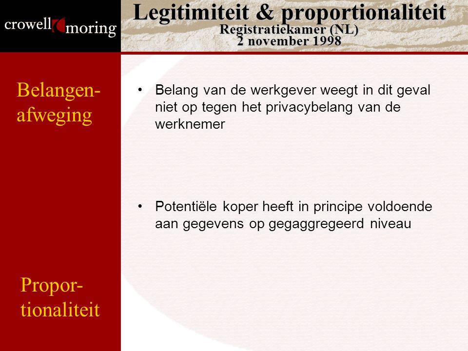 Legitimiteit & proportionaliteit Registratiekamer (NL) 2 november 1998