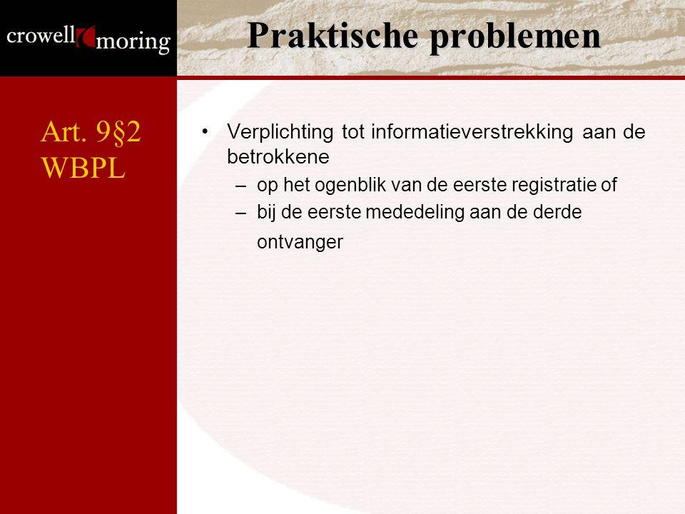 Praktische problemen Art. 9§2 WBPL