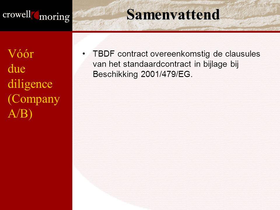 Samenvattend Vóór due diligence (Company A/B)