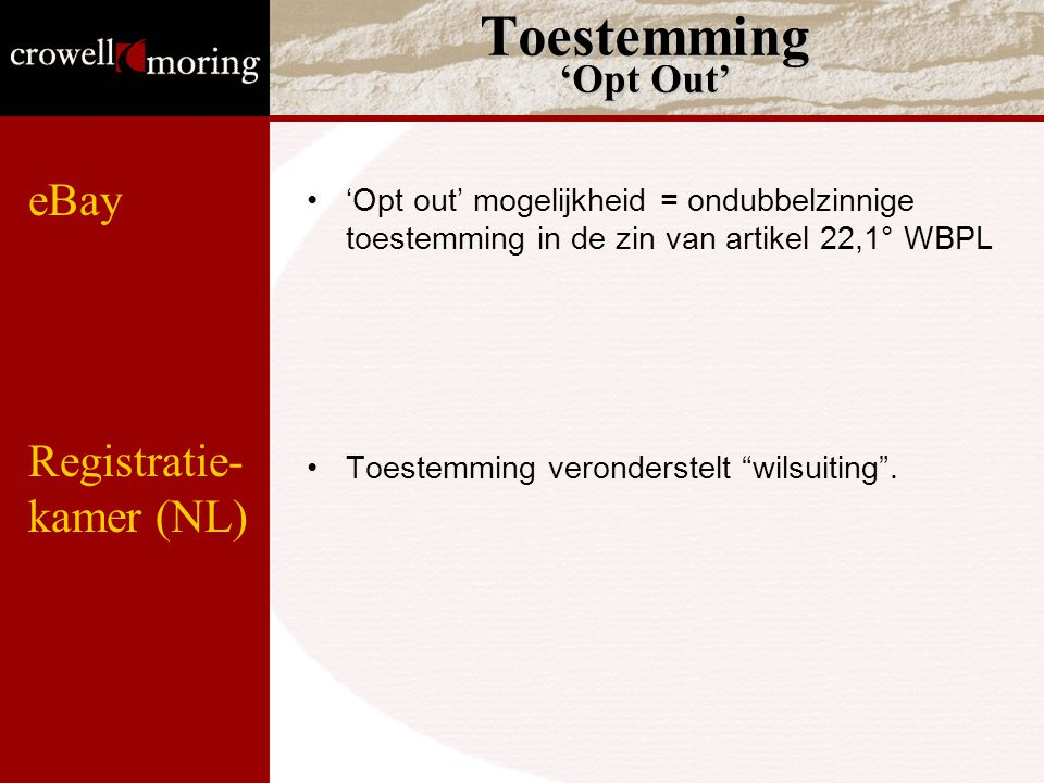 Toestemming 'Opt Out' eBay Registratie- kamer (NL)