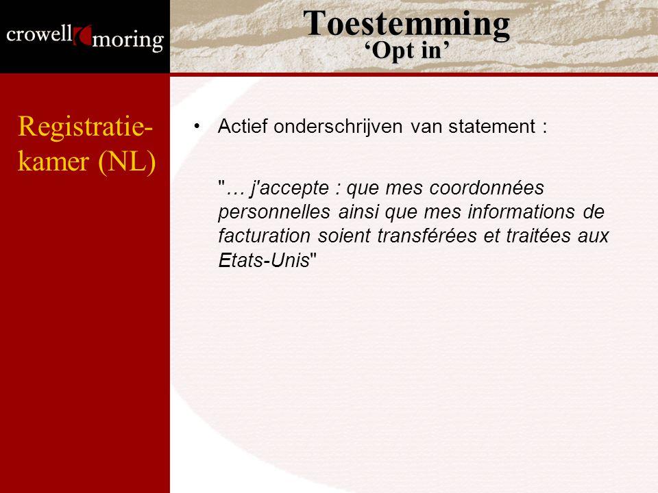 Toestemming 'Opt in' Registratie- kamer (NL)