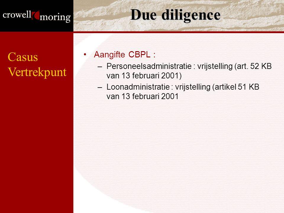 Due diligence Casus Vertrekpunt Aangifte CBPL :