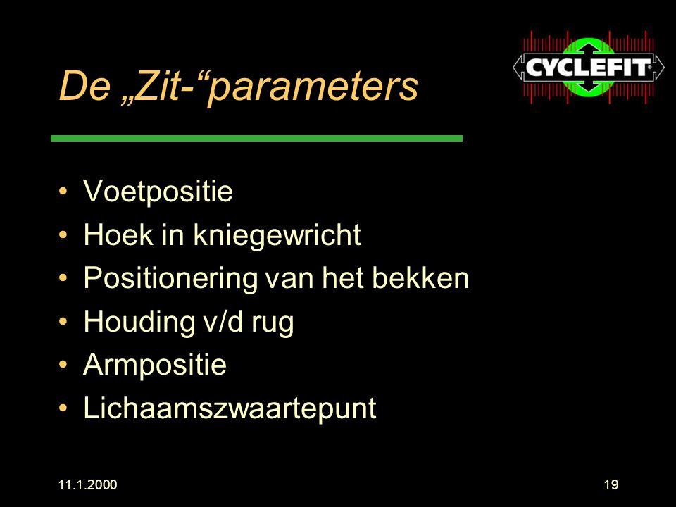 """De """"Zit- parameters Voetpositie Hoek in kniegewricht"""