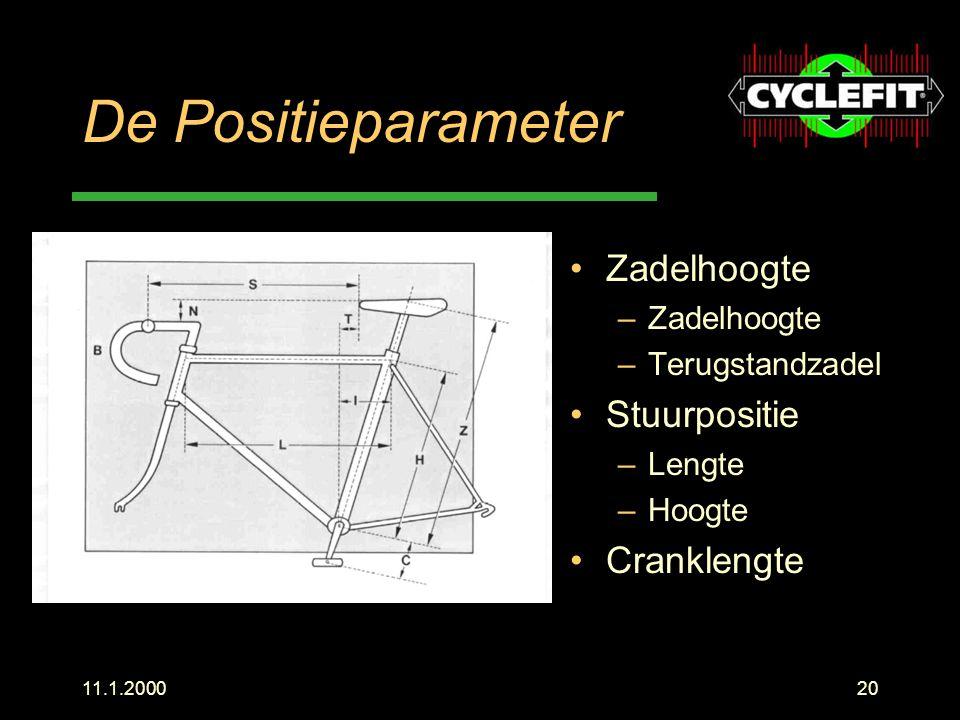 De Positieparameter Zadelhoogte Stuurpositie Cranklengte