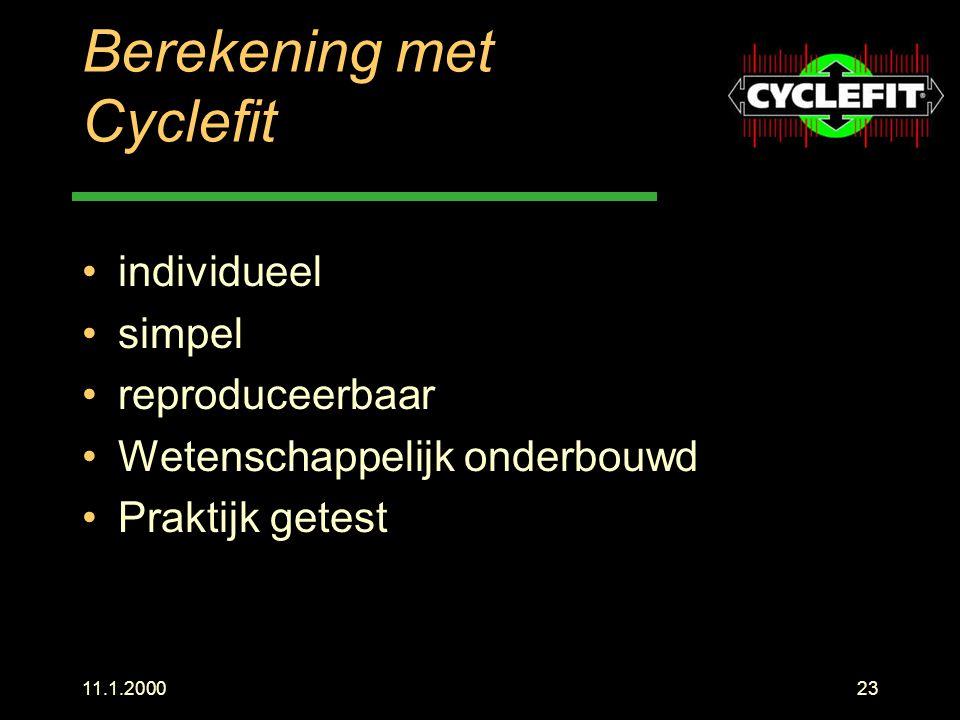 Berekening met Cyclefit