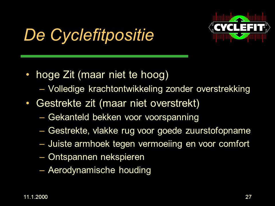 De Cyclefitpositie hoge Zit (maar niet te hoog)