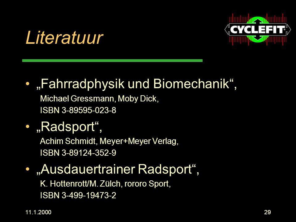"""Literatuur """"Fahrradphysik und Biomechanik , """"Radsport ,"""