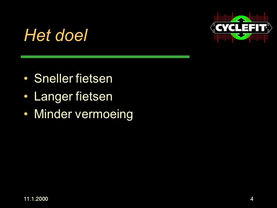Het doel Sneller fietsen Langer fietsen Minder vermoeing 11.1.2000