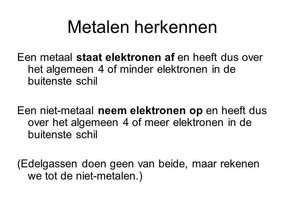 Metalen herkennen Een metaal staat elektronen af en heeft dus over het algemeen 4 of minder elektronen in de buitenste schil.