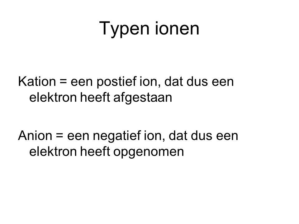 Typen ionen Kation = een postief ion, dat dus een elektron heeft afgestaan.