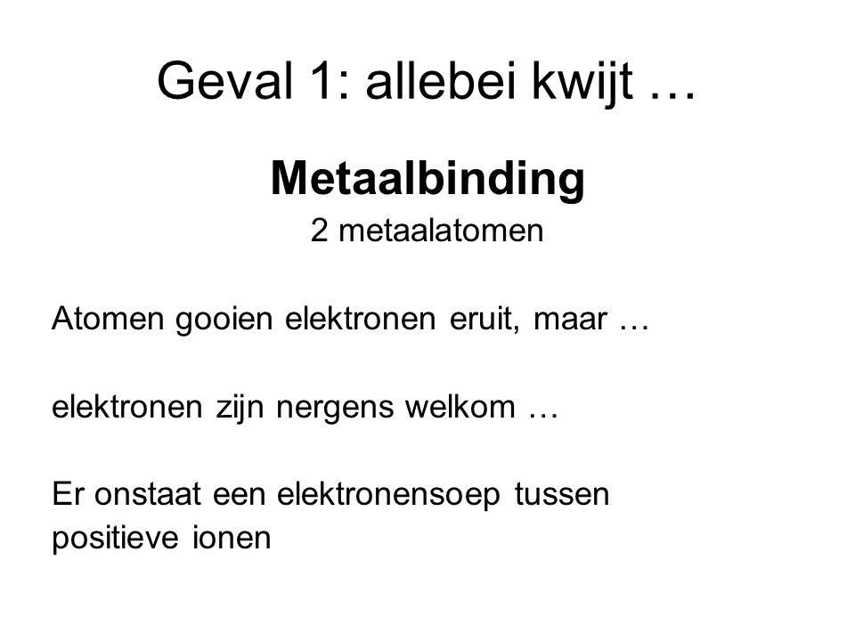 Geval 1: allebei kwijt … Metaalbinding 2 metaalatomen
