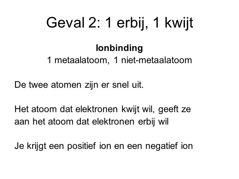 1 metaalatoom, 1 niet-metaalatoom