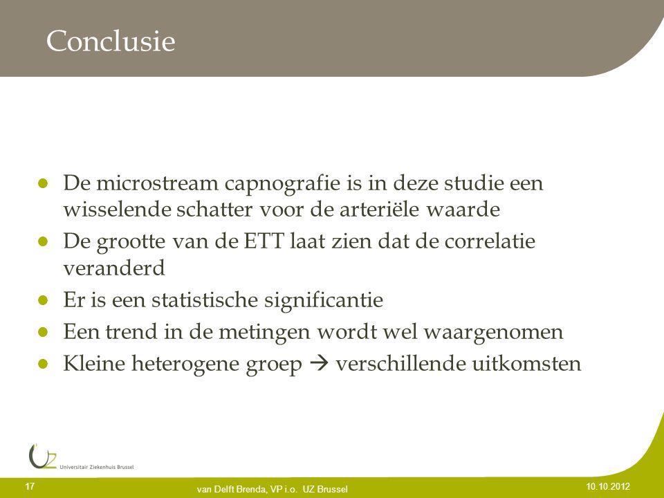 Conclusie De microstream capnografie is in deze studie een wisselende schatter voor de arteriële waarde.