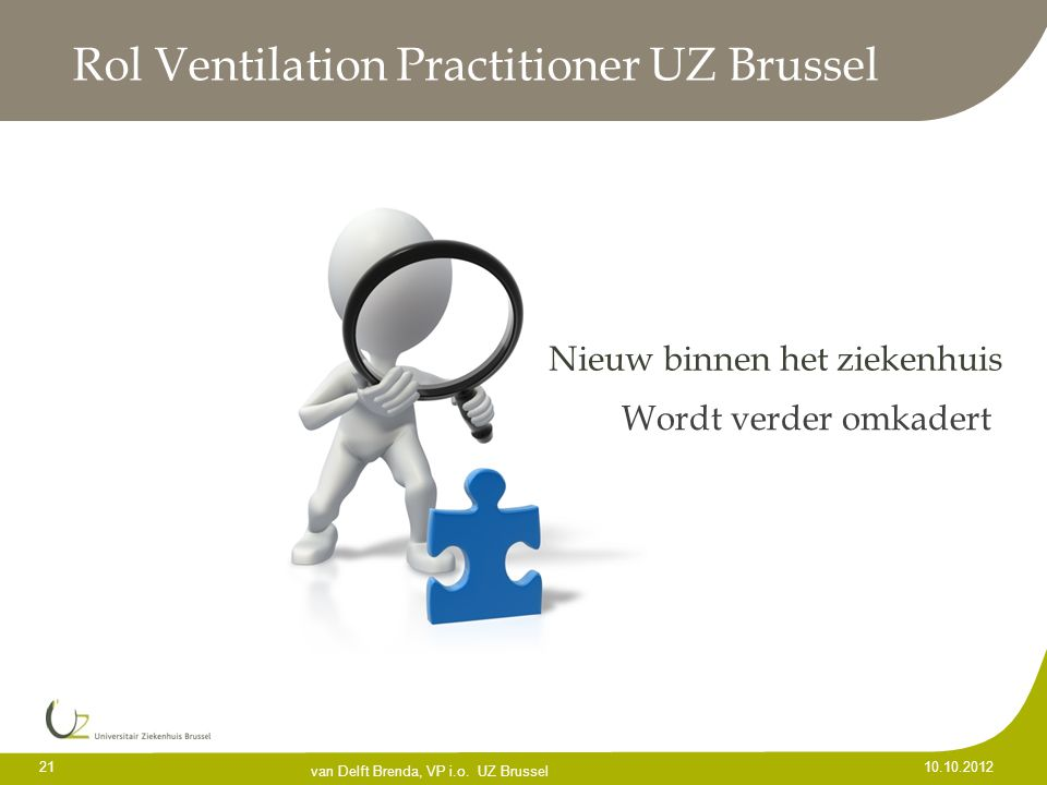 Rol Ventilation Practitioner UZ Brussel