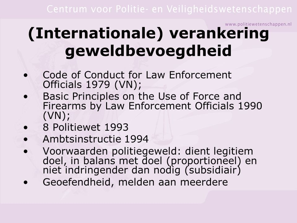 (Internationale) verankering geweldbevoegdheid