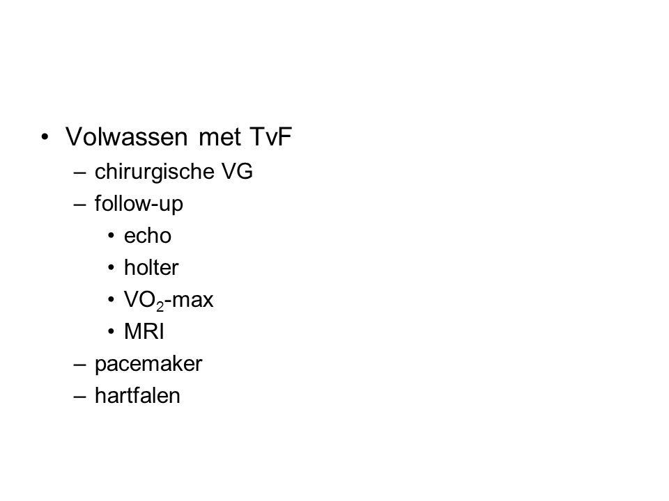 Volwassen met TvF chirurgische VG follow-up echo holter VO2-max MRI