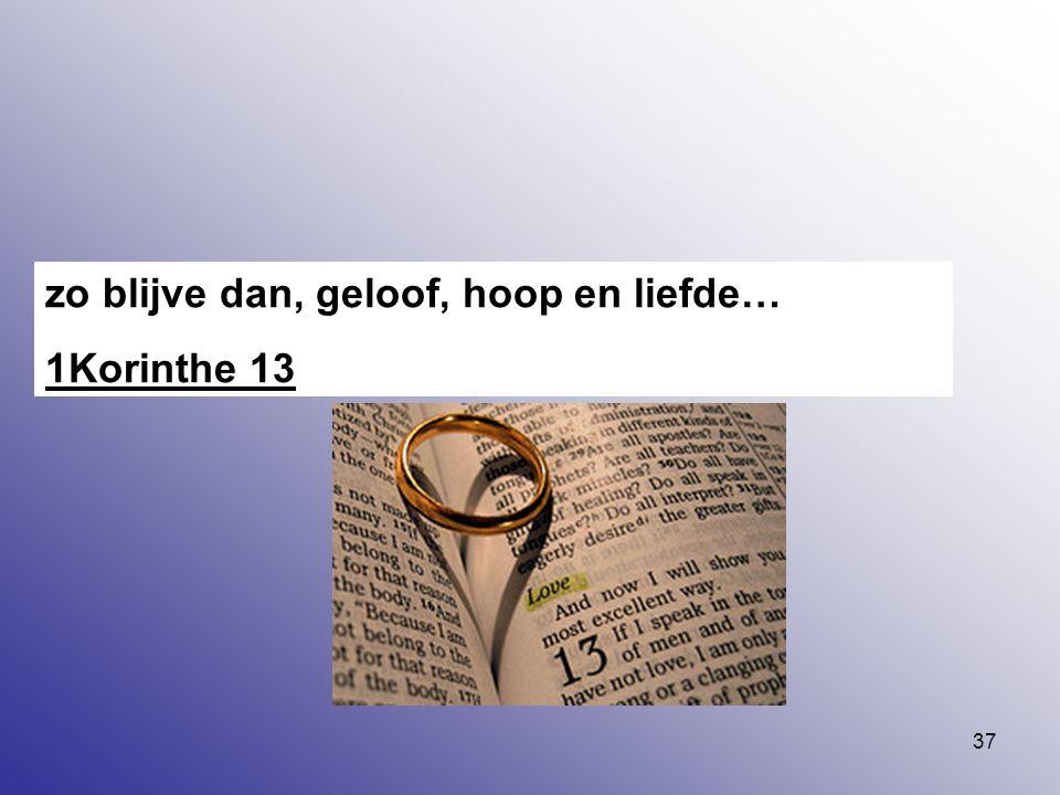 zo blijve dan, geloof, hoop en liefde…