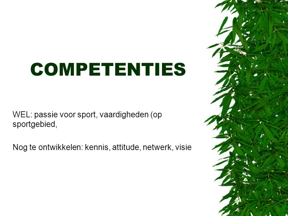 COMPETENTIES WEL: passie voor sport, vaardigheden (op sportgebied,