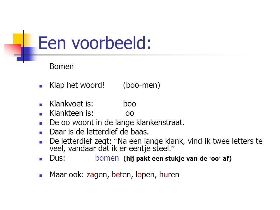 Een voorbeeld: Bomen Klap het woord! (boo-men) Klankvoet is: boo