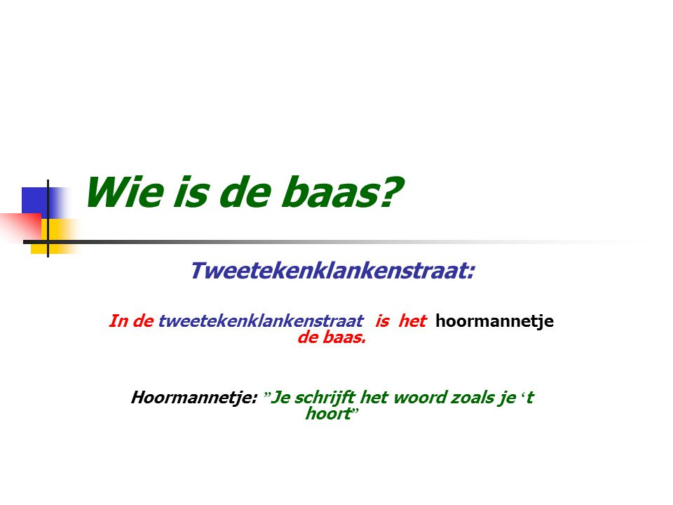 Wie is de baas Tweetekenklankenstraat: