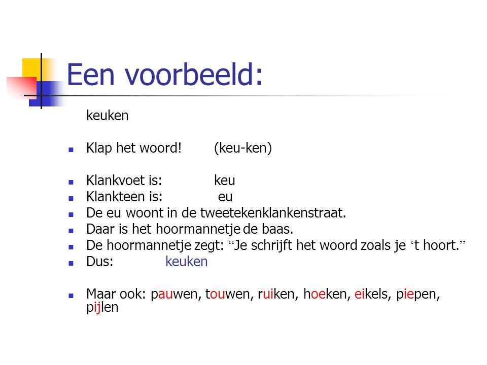 Een voorbeeld: keuken Klap het woord! (keu-ken) Klankvoet is: keu