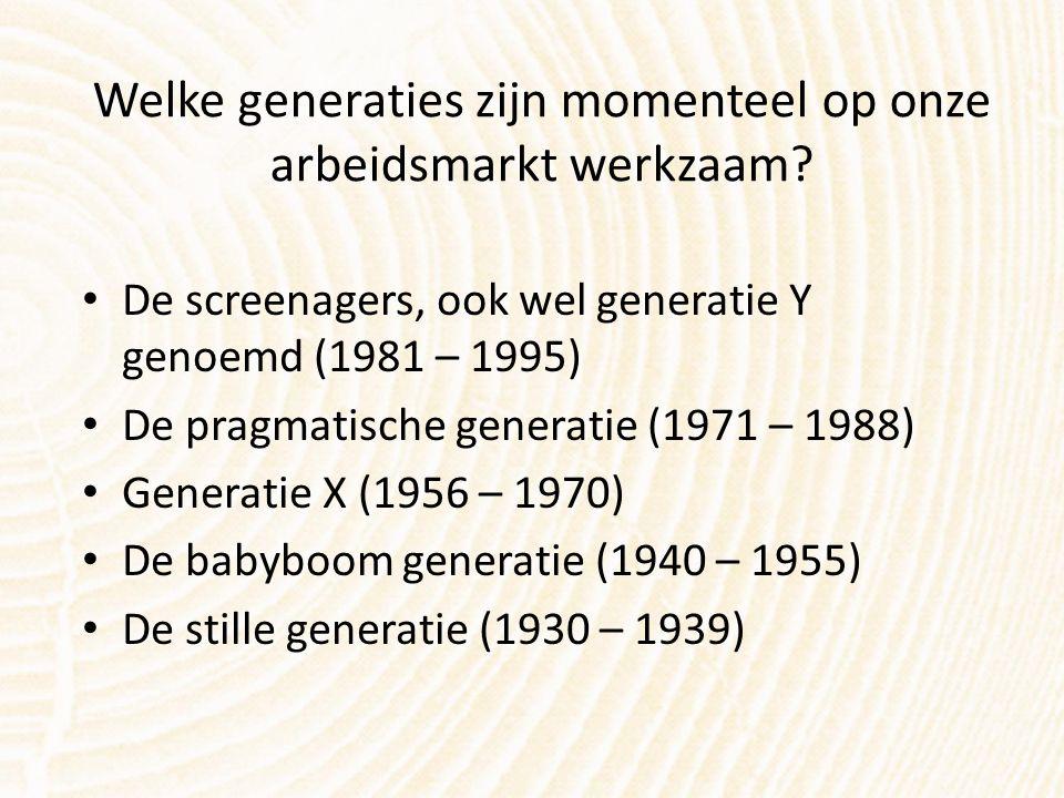 Welke generaties zijn momenteel op onze arbeidsmarkt werkzaam