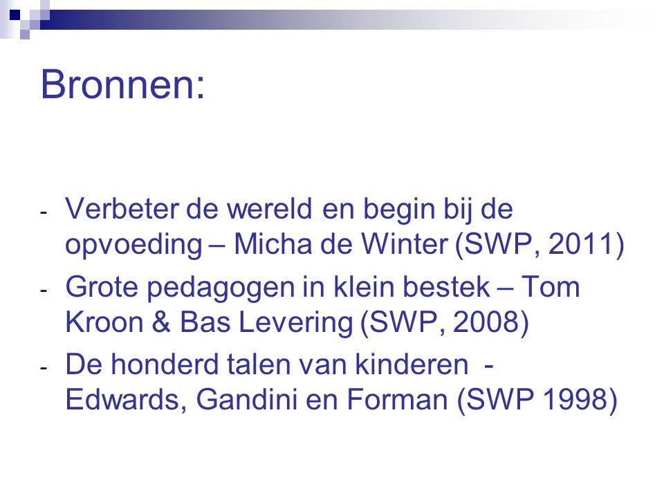 Bronnen: Verbeter de wereld en begin bij de opvoeding – Micha de Winter (SWP, 2011)