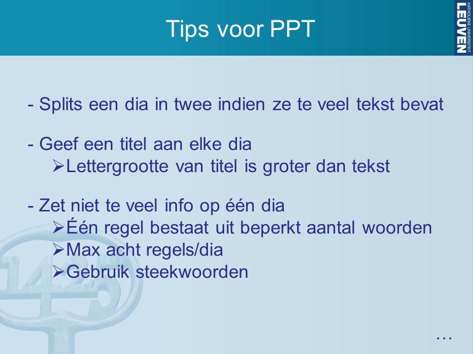 Tips voor PPT - Splits een dia in twee indien ze te veel tekst bevat