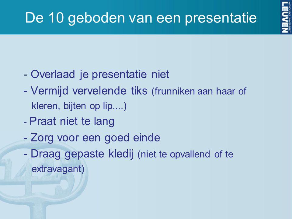 De 10 geboden van een presentatie