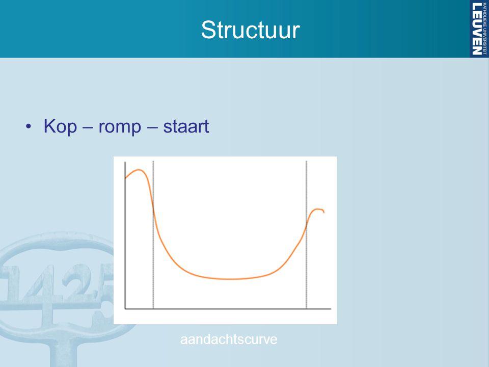Structuur Kop – romp – staart aandachtscurve