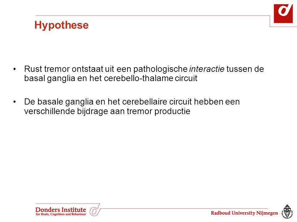 Hypothese Rust tremor ontstaat uit een pathologische interactie tussen de basal ganglia en het cerebello-thalame circuit.