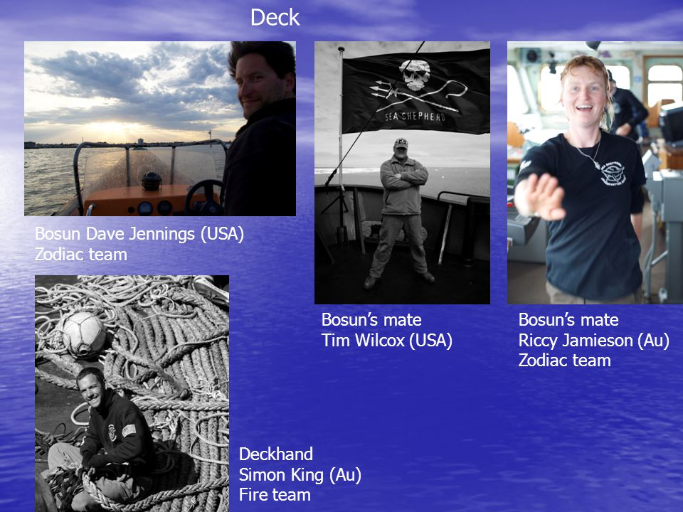 Deck Bosun Dave Jennings (USA) Zodiac team Bosun's mate