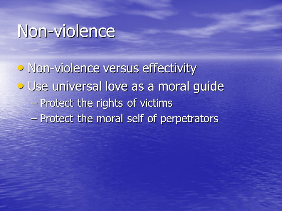 Non-violence Non-violence versus effectivity